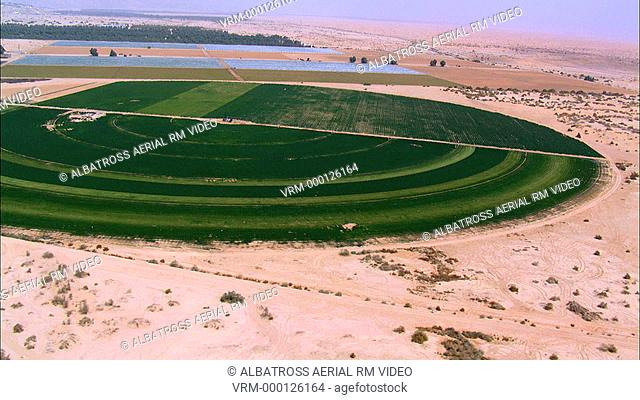 Aerial footage of circular fields of Yotvata