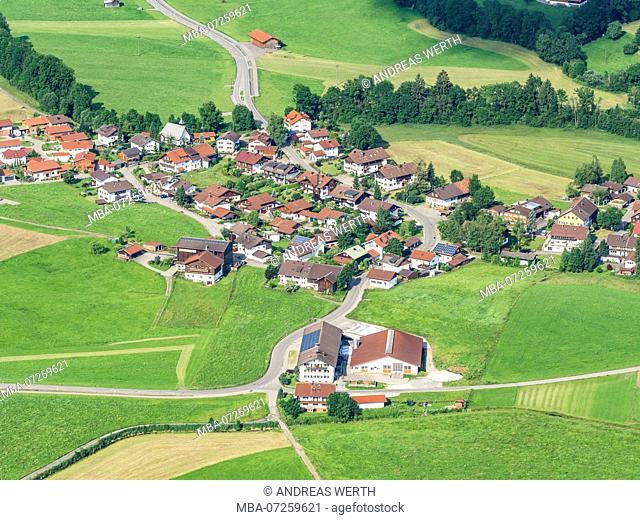 Rural village near Oberstdorf, aerial view, Allgäu, Allgaeu, Bavaria, Germany