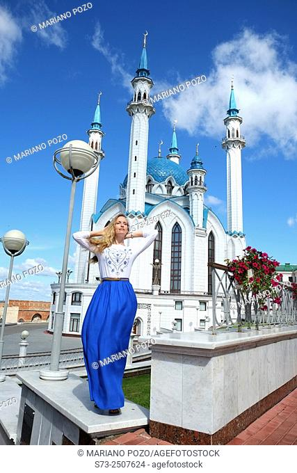 Woman poses in Kul Sharif mosque in Kazan Kremlin, Russia