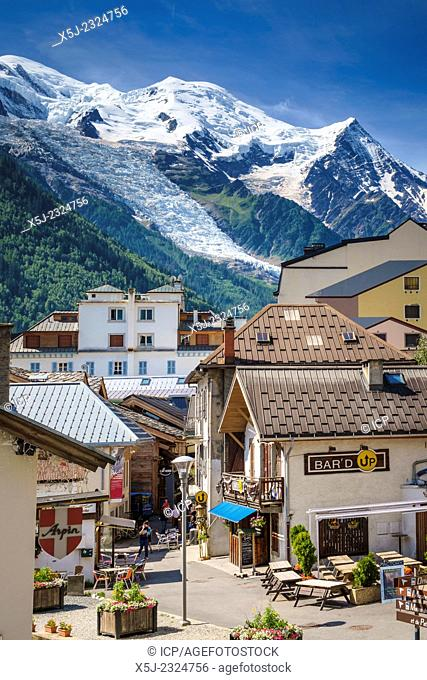 Mont Blanc above Chamonix, French Alps, France, Europe in summer