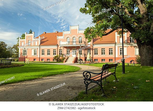 Neo-Gothic palace at Majkowski park in Wejherowo, Poland