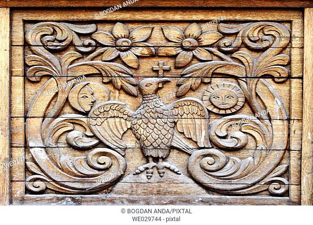 Carved wood plank - Sambata Monastery, southern Transylvania, Romania