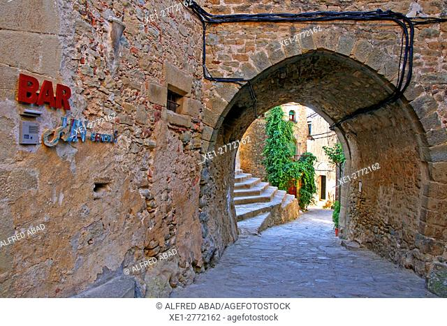 Street with arcade, Madremanya, Girona, Catalonia, Spain