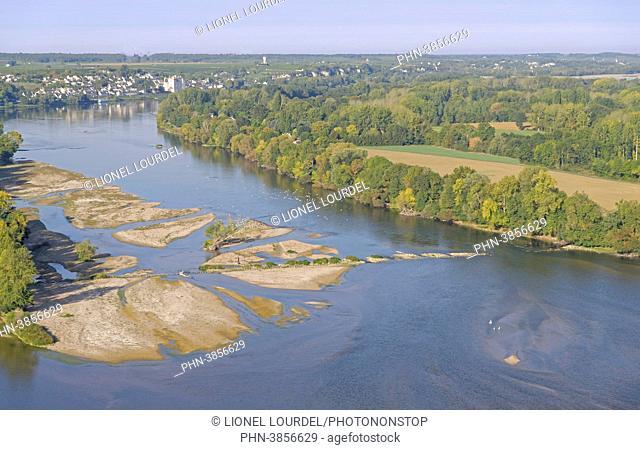 France, Pays de la Loire, Maine-et-Loire, Montsoreau, edge of the Loire, aerial view