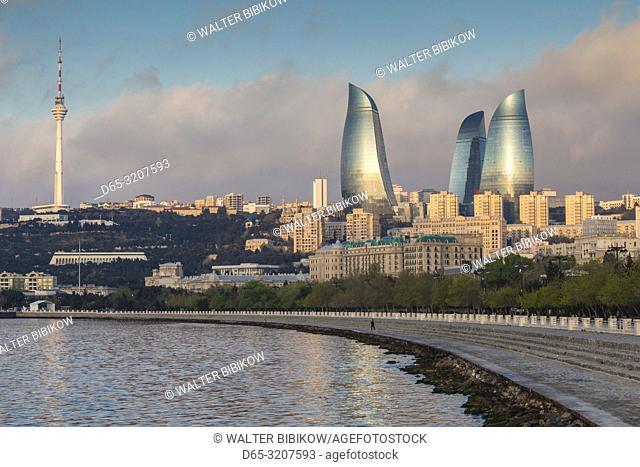 Azerbaijan, Baku, city skyline with Baku Television Tower and Flame Towers form Baku Bay, dawn