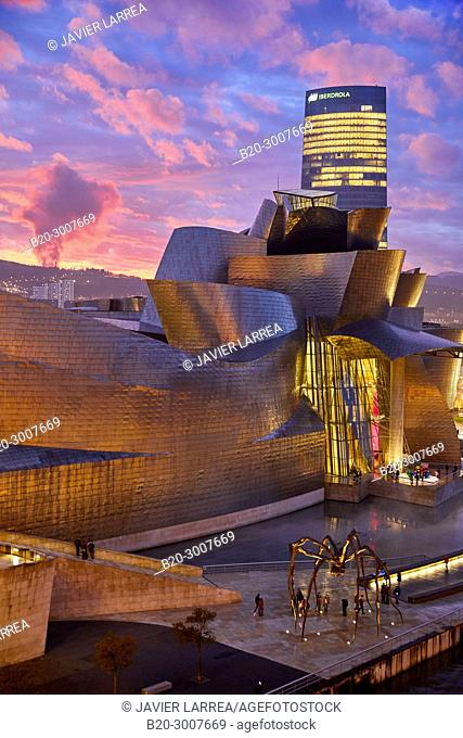 Iberdrola tower, Guggenheim Museum, Bilbao, Bizkaia, Basque Country, Spain, Europe