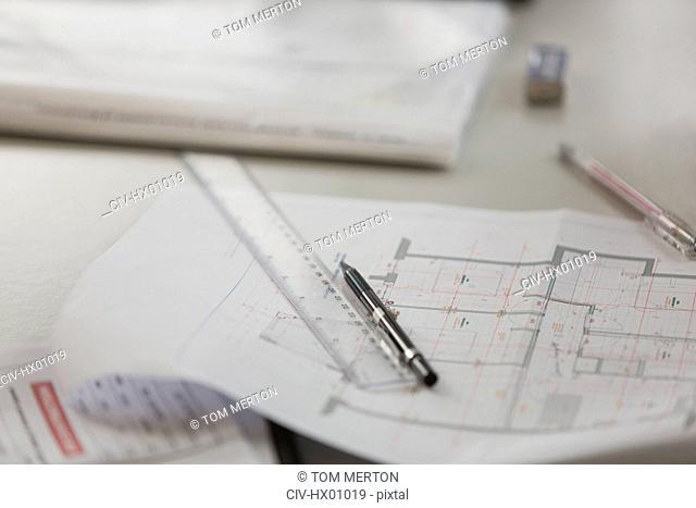 Blueprint, ruler and pencil