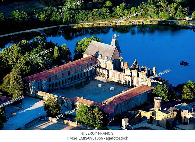 France, Vendee, Les Epesses, Le Puy du Fou, attactions and leisure parc, the castle (aerial view)
