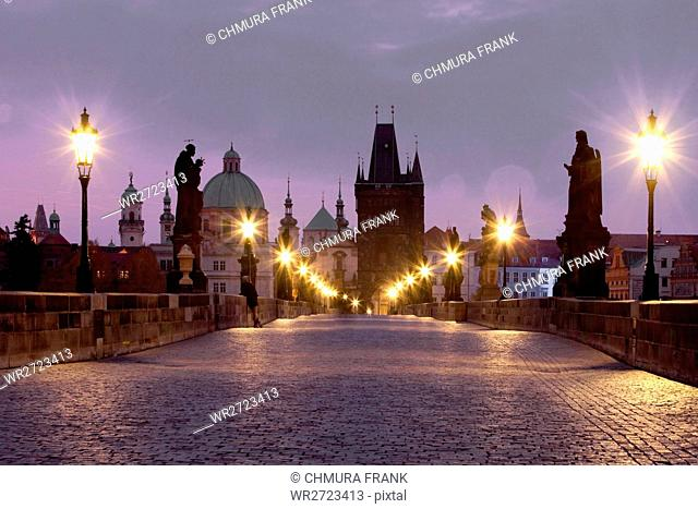 architecture, art, bridge, Charles bridge, cities, city, cityscape, colour, Czech republic, dawn, Europe, exterior, lamp, lantern, light, morning, old, outdoor