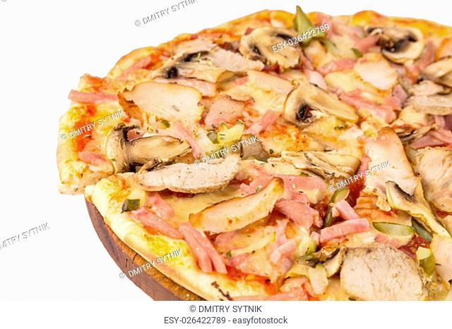 isolated fast food the slice pizza to nominate from big round pizza