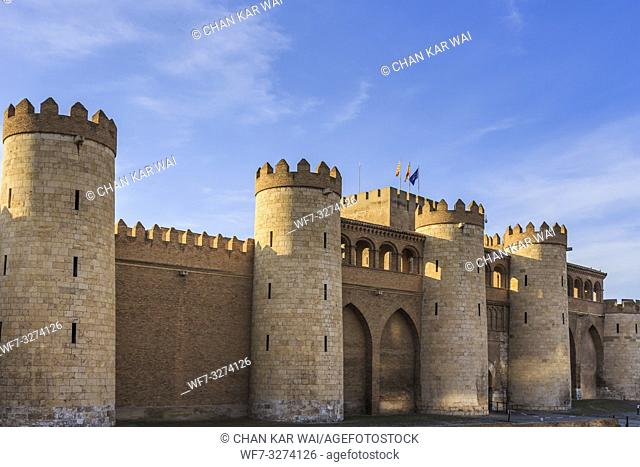 Zaragoza, Spain - Jan 2019: The exterior facade of Aljaferia Palace, rebuilt in the 20th century