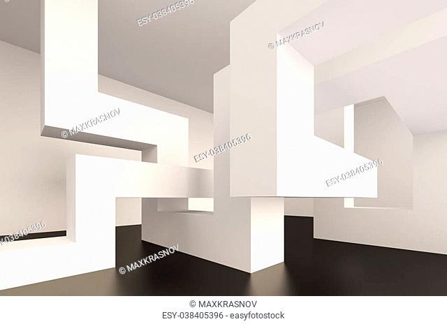 3d Illustration of Blue Abstract Interior Design