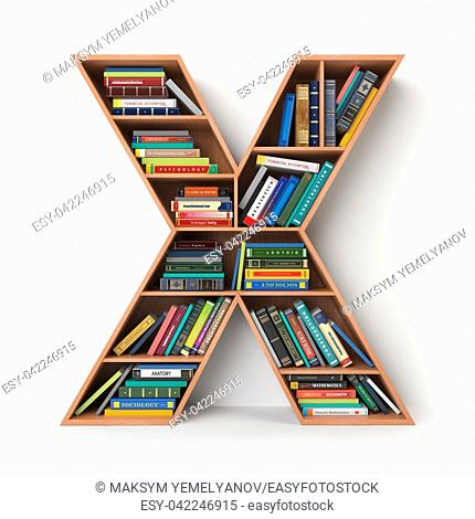 Letter X. Alphabet in the form of shelves with books isolated on white. 3d illustration