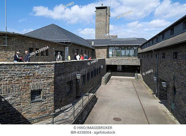 Courtyard and tower of Ordensburg Vogelsang, educational centre of the NSDAP from 1936-1939, now Forum Vogelsang, Eifel, North Rhine-Westphalia, Germany