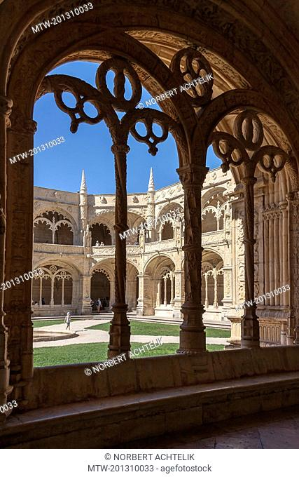 Cloister and courtyard at Mosteiro dos Jeronimos, Lisbon, Portugal