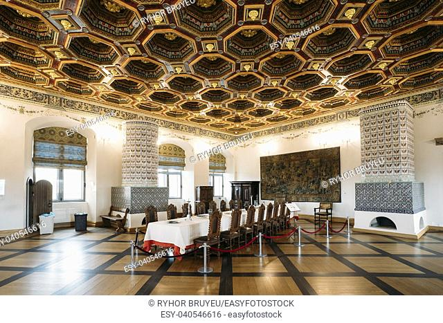 Mir, Belarus - September 1, 2016: Exposition The Dining Room Izba In Castle Complex Museum. Famous Landmark, Architectural Ensemble Of Feudalism