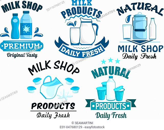 Dairy products and milk isolated icons of milky food and drinks of milk bottle and butter, sour cream and milk curd, cheese, yogurt or kefir in pitcher