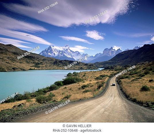 Cuernos del Paine rising up above Rio Paine, Torres del Paine National Park, Patagonia, Chile, South America