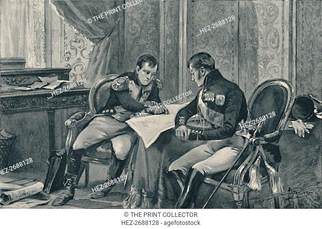 'Napoleon and Alexander at Tilsit Studying The Map of Europe', 1807, (1896). Artist: Unknown
