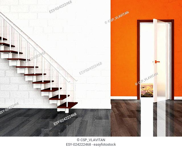 a door and a stairs