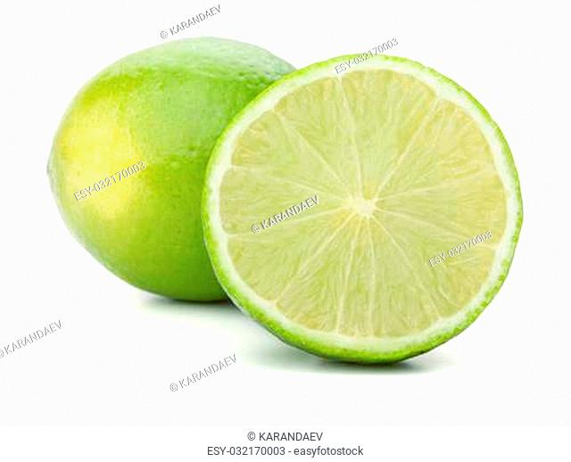 Whole and half lime. Isolated on white background