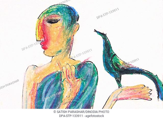 Ascetic man with bird and oil pastel on paper