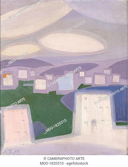 March Feelings (Plastic Synthesis), by Angelo Zamboni, 1917, 20th Century, oil on carboard. Private collection. Whole artwork view