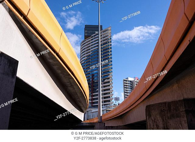 Wurundjeri Way and modern buildings, Melbourne