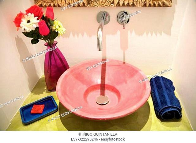 ceramic red washbasin
