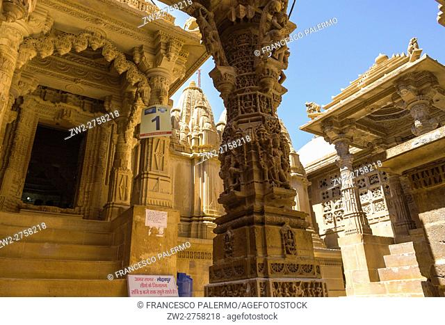 Magic atmosphere in Jain temple. Jaisalmer, Rajasthan. India