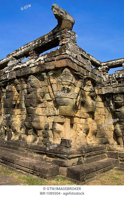 Wall carved with Garudas and lions, Terrace of the Elephants, Angkor Thom, UNESCO World Heritage Site, Siem Reap, Cambodia