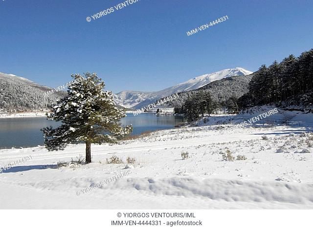 View of Doxa Lake. Doxa Laka, Feneo, Corinthia, Peloponnese, Greece