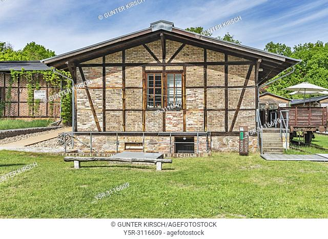 The station building in the museum village Baruther Glashütte is now used as a wine parlor. Glashuette is located in the city Baruth / Mark