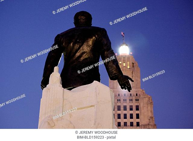 Low angle view of statue outside Louisiana State Capitol, Baton Rouge, Louisiana, United States