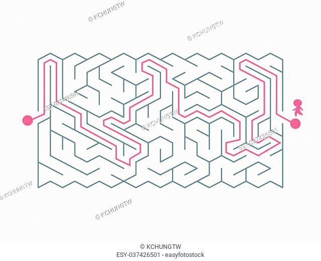 trendy hexagon maze isolated on white background
