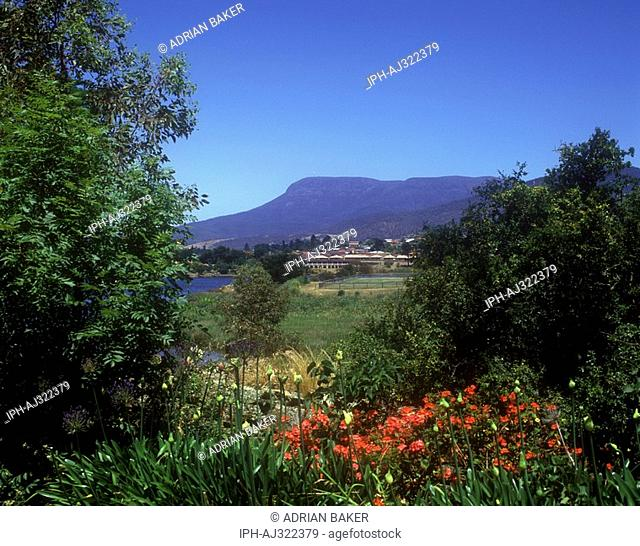 View of Mount Wellington which stands 1271m above the city of Hobart the state capital of Tasmania