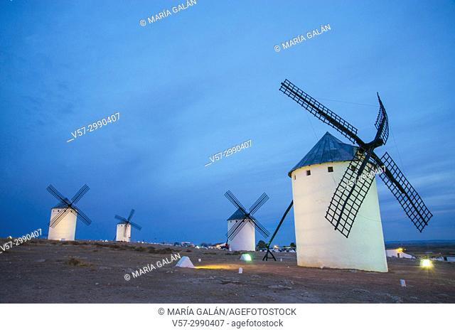 Windmills, night view. Campo de Criptana, Ciudad Real province, Castilla La Mancha, Spain