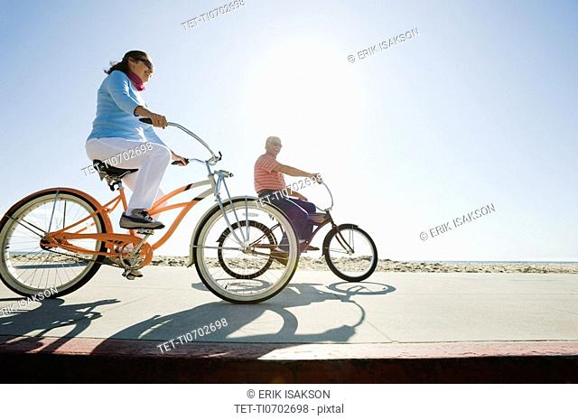 Couple riding bicycles
