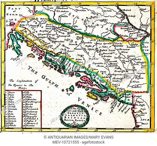 17th century Map of Sclavonia, Croatia, Dalmatia, Bosnia and the Gulph (Gulf) of Venice Etc