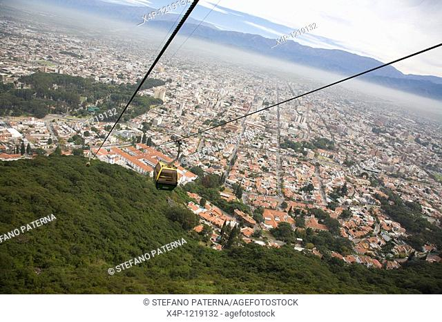 Cable Car towards the Cerro San Bernardo in Salta. Argentina