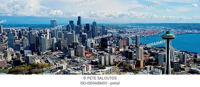 Panoramic aerial view of Seattle, Washington State, USA