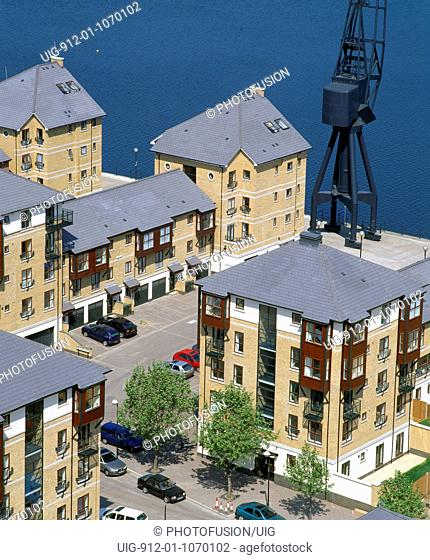 Brittania Village, new housing built on brownfield site, former warehouses, London Docklands UK