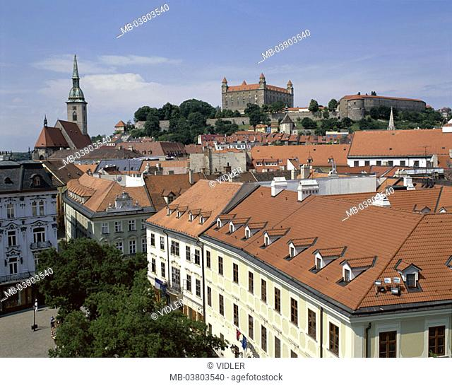 Slovak republic, Bratislava,  view at the city, old town, gaze, castle,  Capital, houses, house roofs, church, steeple, Castle installation