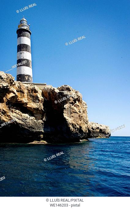 Lighthouse. Illa de l'Aire in front of Punta Prima, Minorca, Balearic Islands, Spain