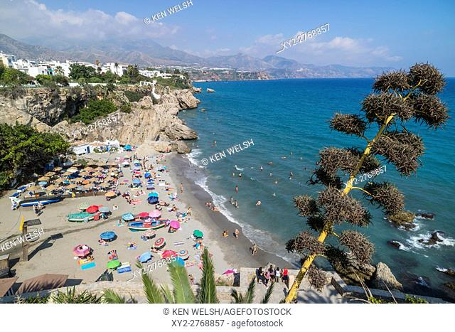 Nerja, Costa del Sol, Malaga Province, Andalusia, southern Spain. Calahonda beach seen from the Balcon de Europa