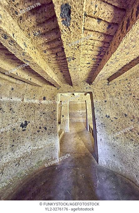 """Interior of an Etruscan """"dado: (dice) tomb known as Tomba Maroi dating form the 7th century BC, Necropoli della Banditaccia, Cerveteri, Italy"""