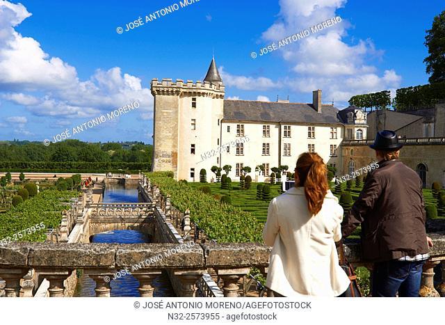 Villandry, Castle and gardens, Château de Villandry, Indre et Loire,Touraine, Loire Valley, UNESCO World Heritage Site, France
