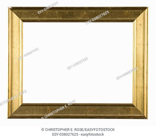 Empty picture frame, distressed gilt finish