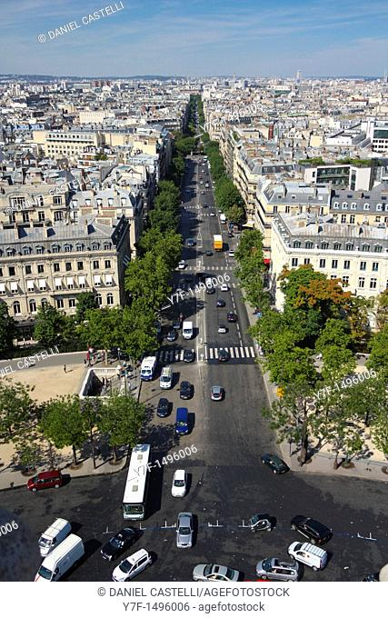 View of Paris from the Arc de Triomphe, Paris, France