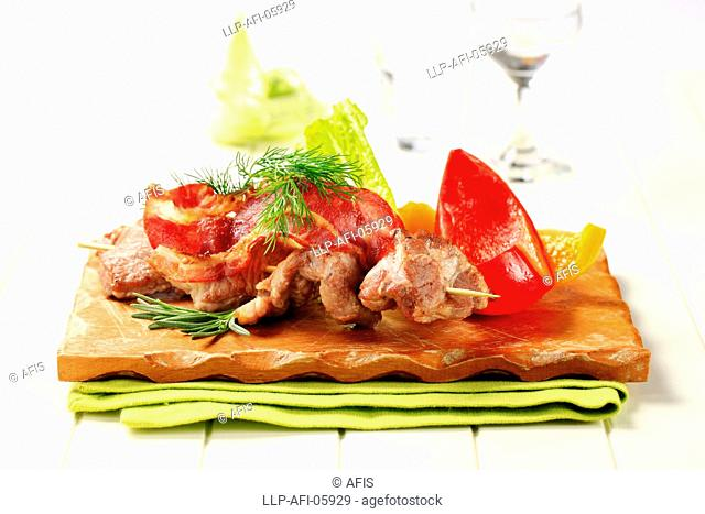 Venison souvlaki and bacon strips